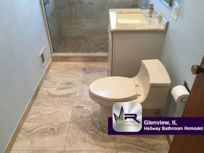 Hallway Bathroom Remodel - 2802 Pauline Ave, Glenview, IL 60025 by Regency Home Remodeling