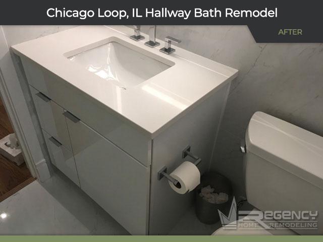 Hallway Bathroom Remodel - 212 W Washington St, Chicago, IL 60606 by Regency Home Remodeling