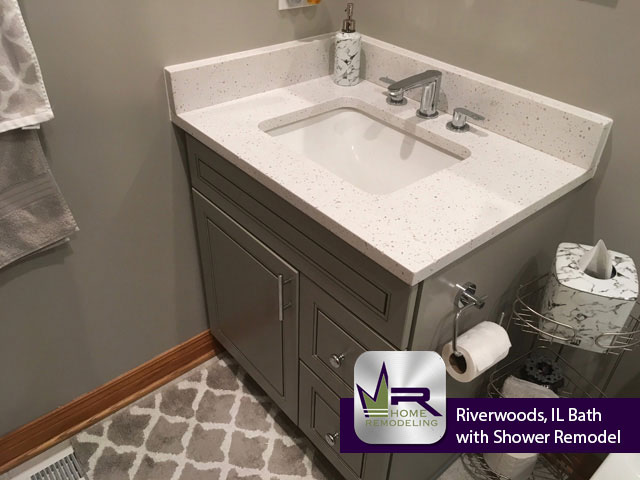 Bathroom with Shower Remodel - 975 Portwine Rd, Riverwoods, IL 60015 by Regency Home Remodeling