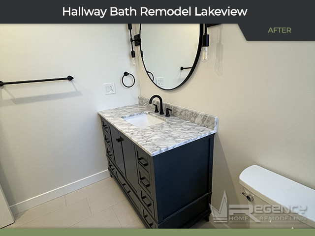 Hallway Bath Remodel - 1446 W Diversey Pkwy, Chicago, IL 60614 by Regency Home Remodeling